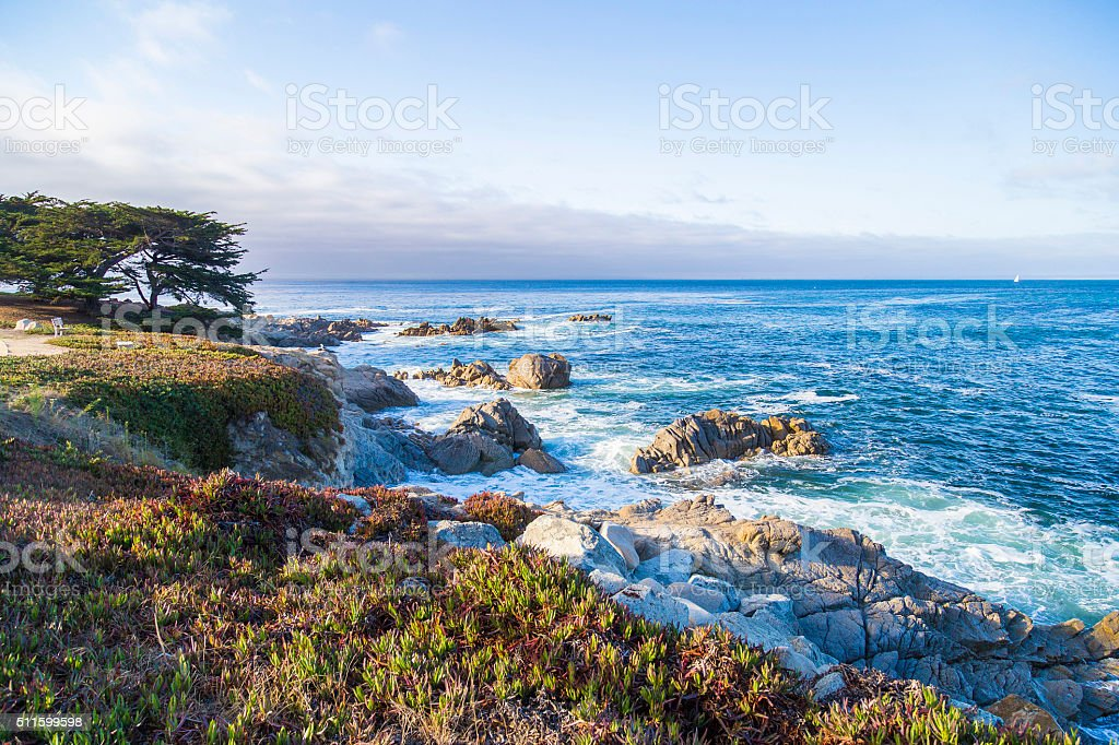Seascape of Monterey Bay and cypress trees at Sunset, California stock photo