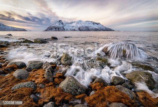 long exposure photo seascape of Sessoya island from Kvaloya, Tromso, Norway