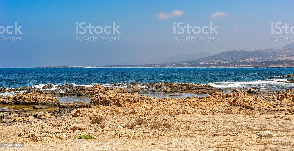 Seascape on shore of the Mediterranean Sea stock photo