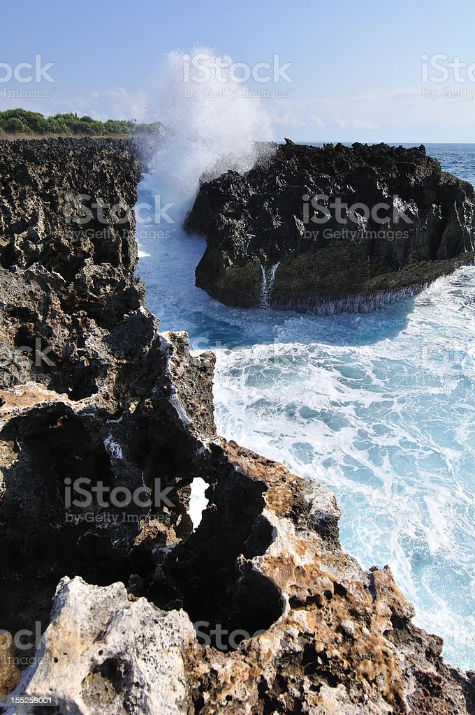 seascape photo of waterblow at nusa dua bali royalty-free stock photo
