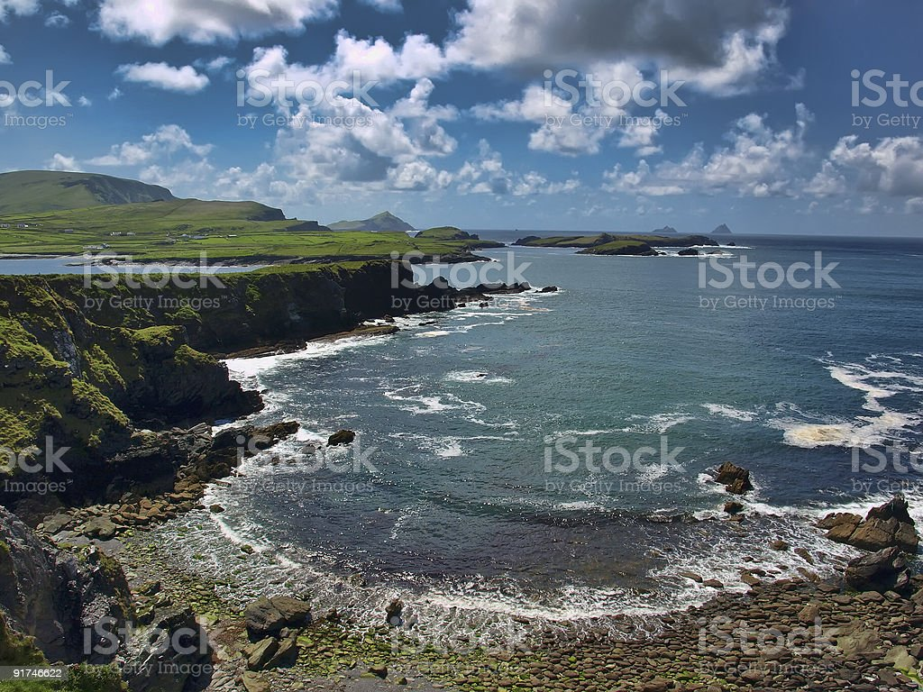 seascape, ring of kerry, skellig island, ireland stock photo