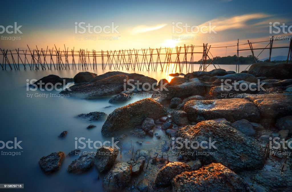 seascape sunset at Batu Pahat stock photo