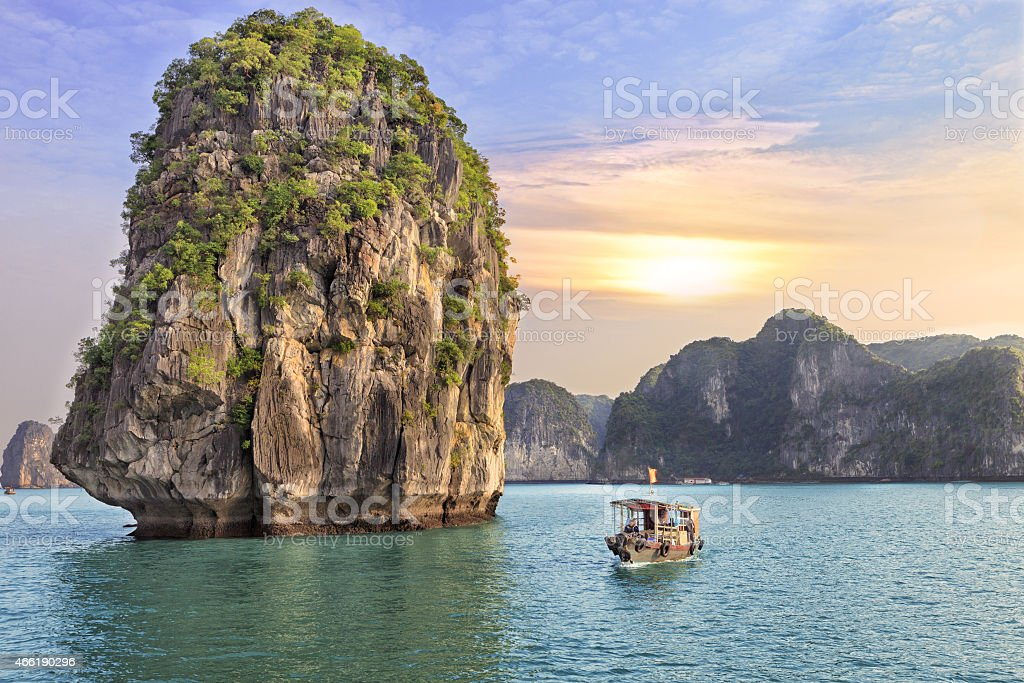 seascape sunset at Halong Bay stock photo