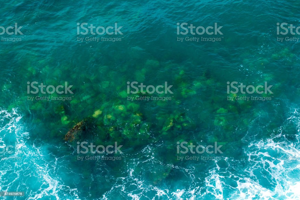 Seascape. Transparent sea of green color. View from above. Adriatic Sea stock photo
