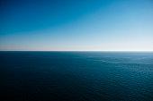 Seascape under blue sky