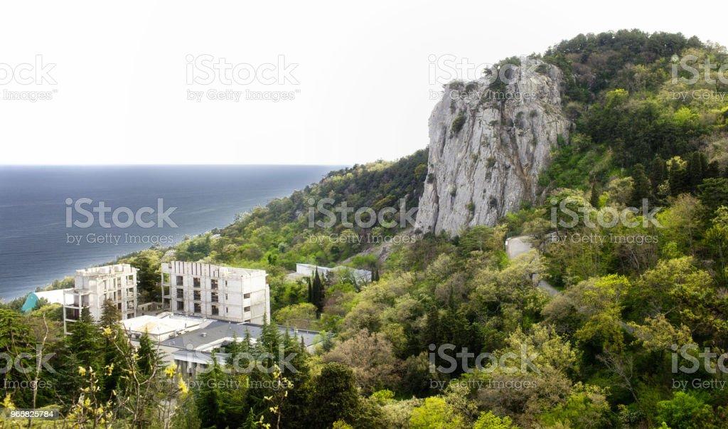 Zeegezicht met uitzicht op de bergen - Royalty-free Baai Stockfoto