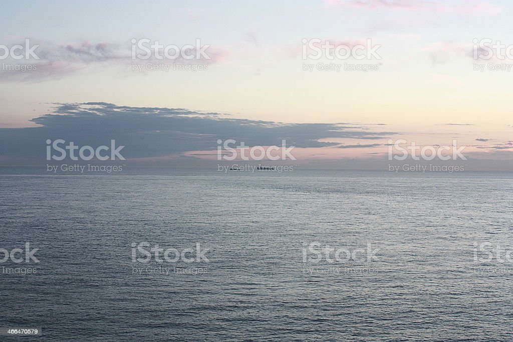 seascape with boats and sunset royalty-free stock photo