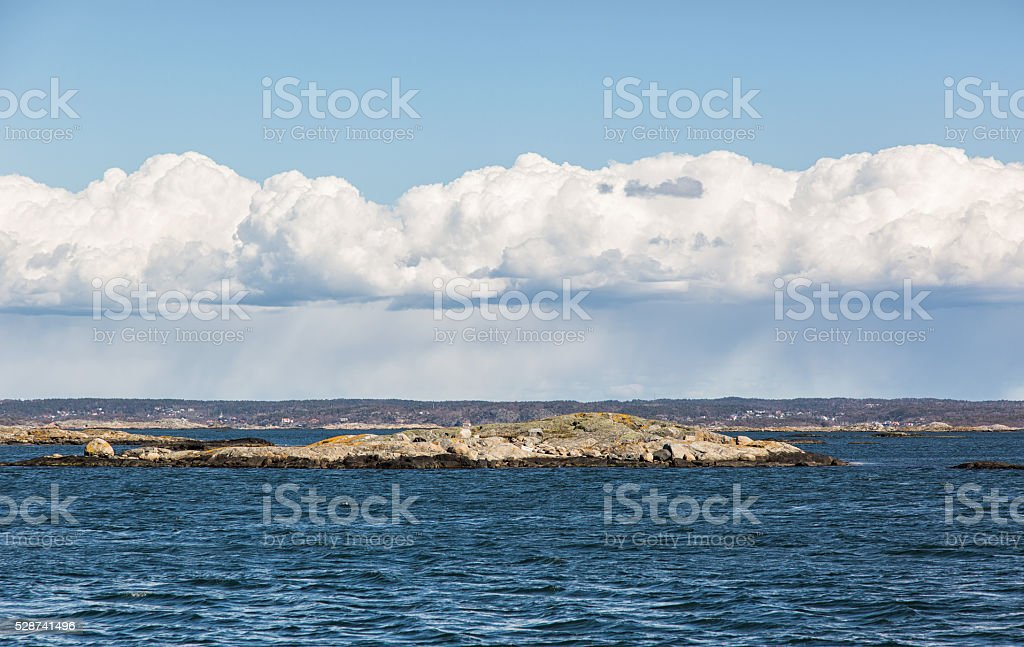 Seascape with clouds. stock photo