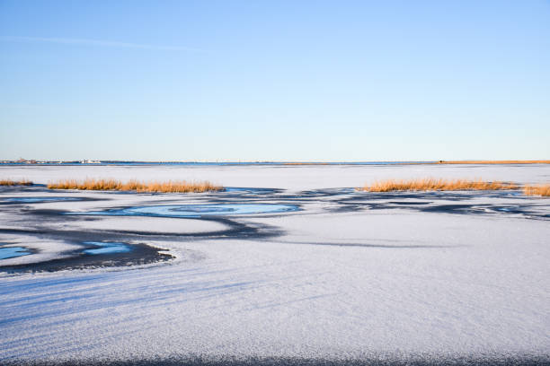 Seascape with frozen lake stock photo