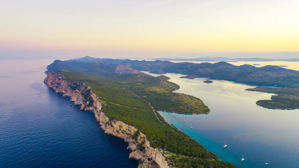 Seascape with islands, Croatia, Kornati stock photo