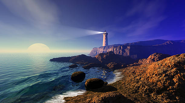Seascape with lighthouse Magnificent seascape with full moon and lighthouse on a cliff beacon stock pictures, royalty-free photos & images