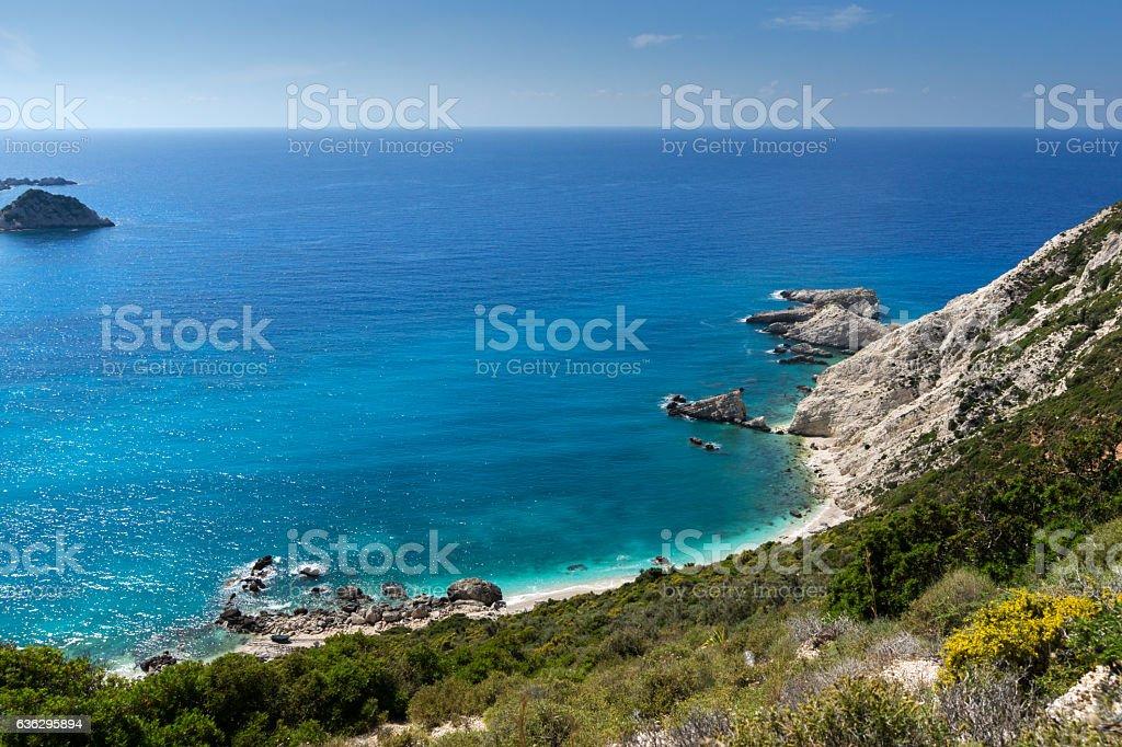 Seascape with Rocks and blue waters near Petani Beach, Kefalonia stock photo