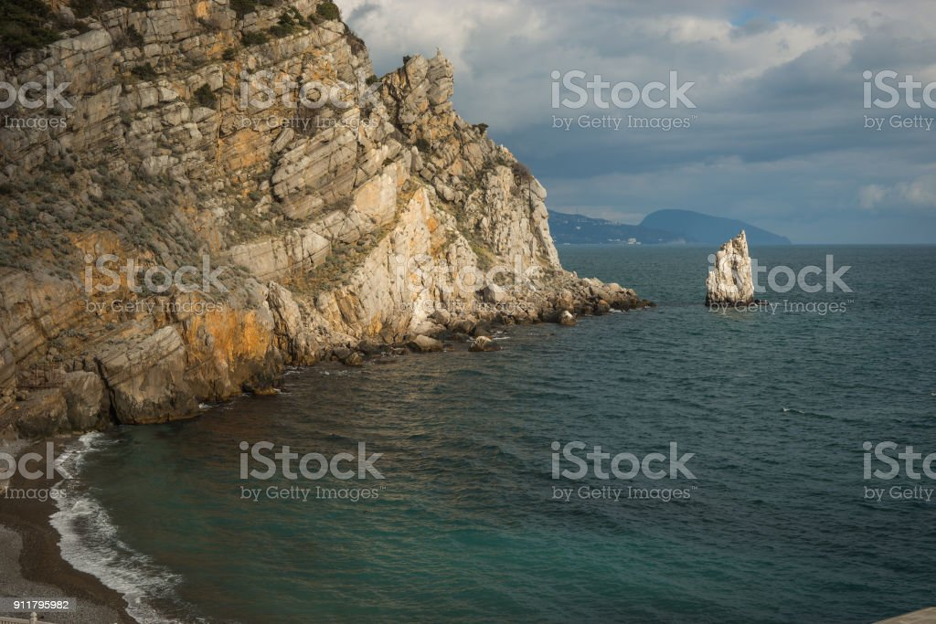 Seascape with rocks and cliffs at Gaspra in Crimea, Russia stock photo