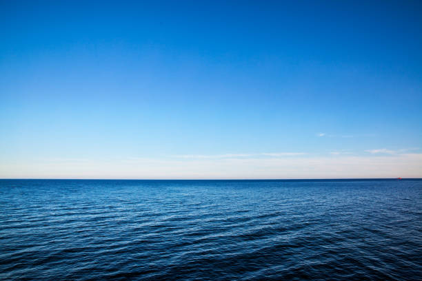 seascape with sea horizon - background - sea imagens e fotografias de stock