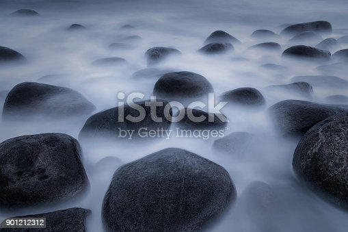 istock Seascape with sunset at the Uttakleiv beach in winter, Lototen, Norway 901212312