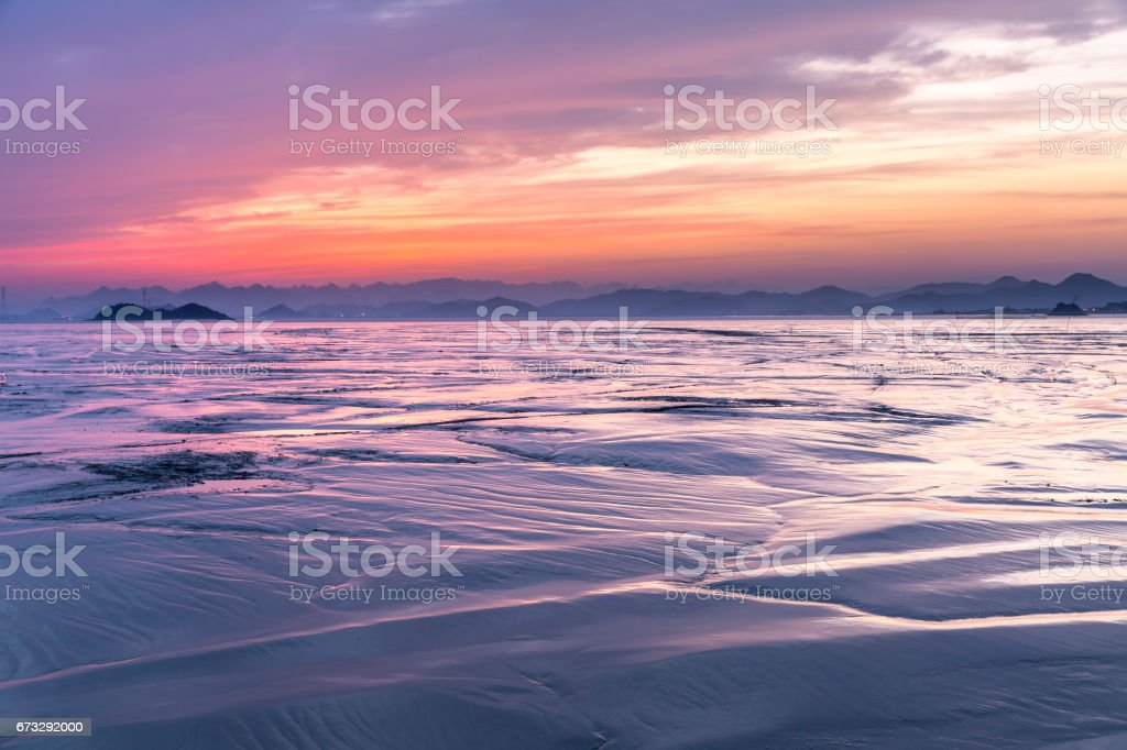 Seascape with sunset at Yueqing bay. royalty-free stock photo