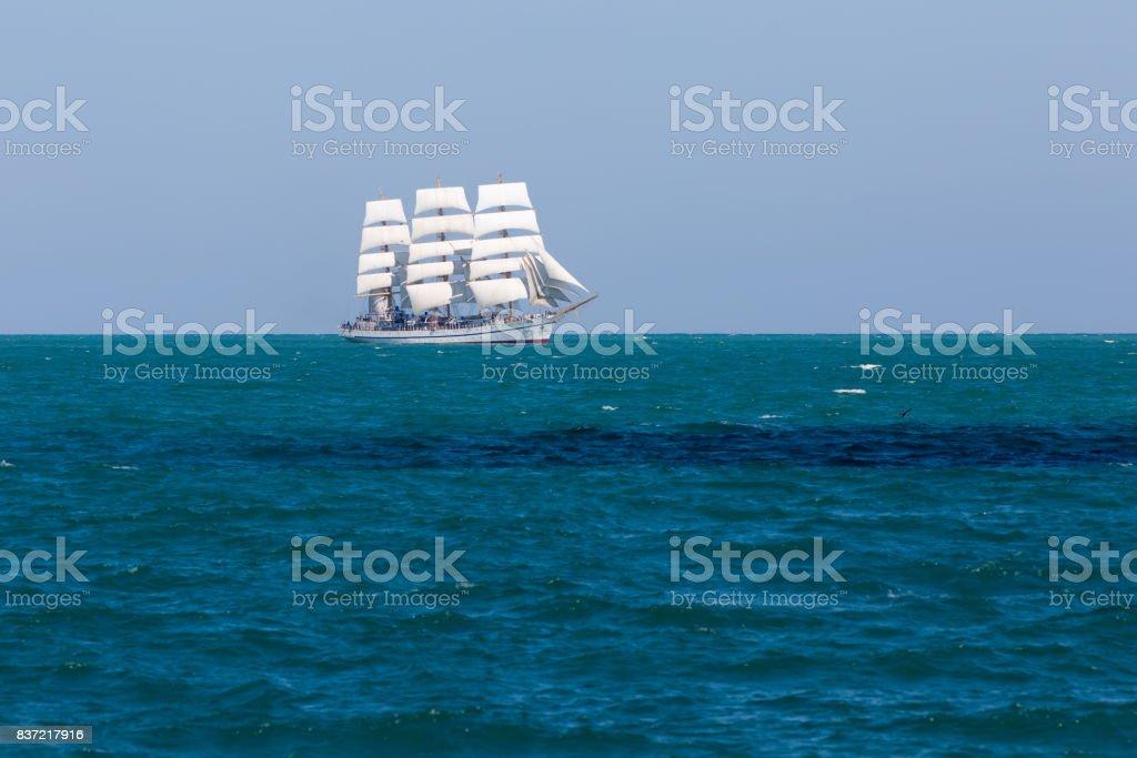 Seascape with white sailing ship stock photo