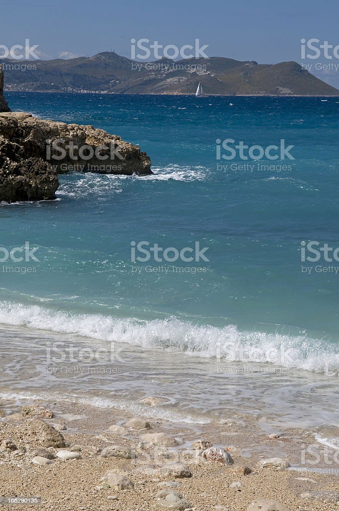 Seascape with yacht royalty-free stock photo