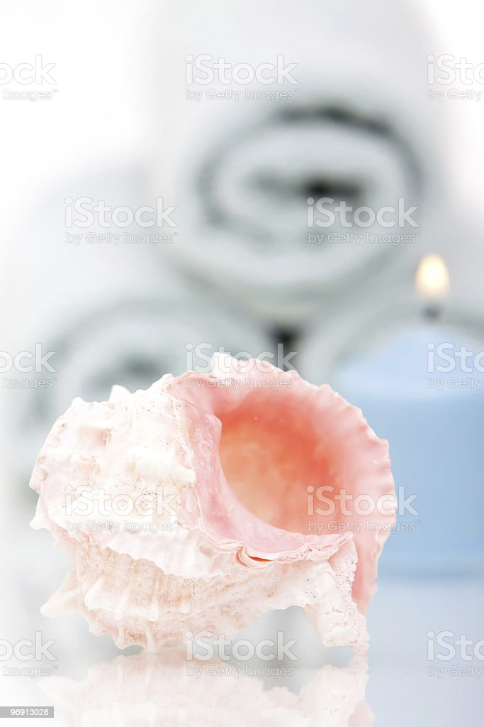 Seashell and candle royalty-free stock photo