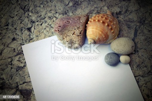 1183352589 istock photo Seashells and pebbles with note paper 481399636