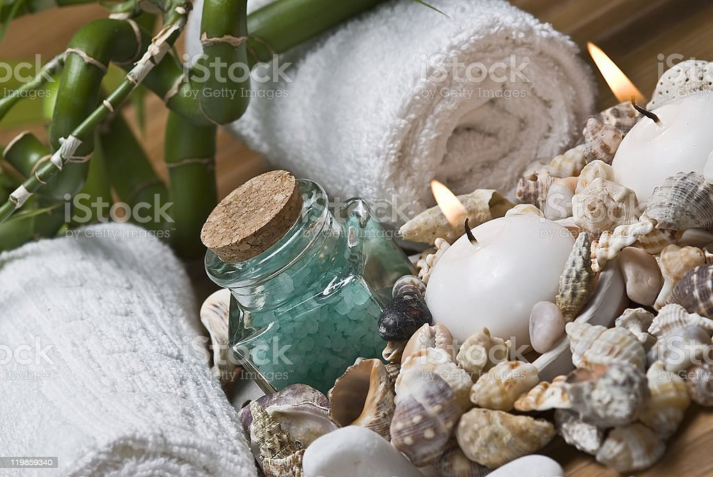 Seashells in the spa. royalty-free stock photo