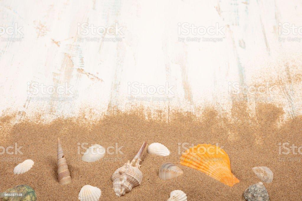Seashells with sand on a wooden background zbiór zdjęć royalty-free