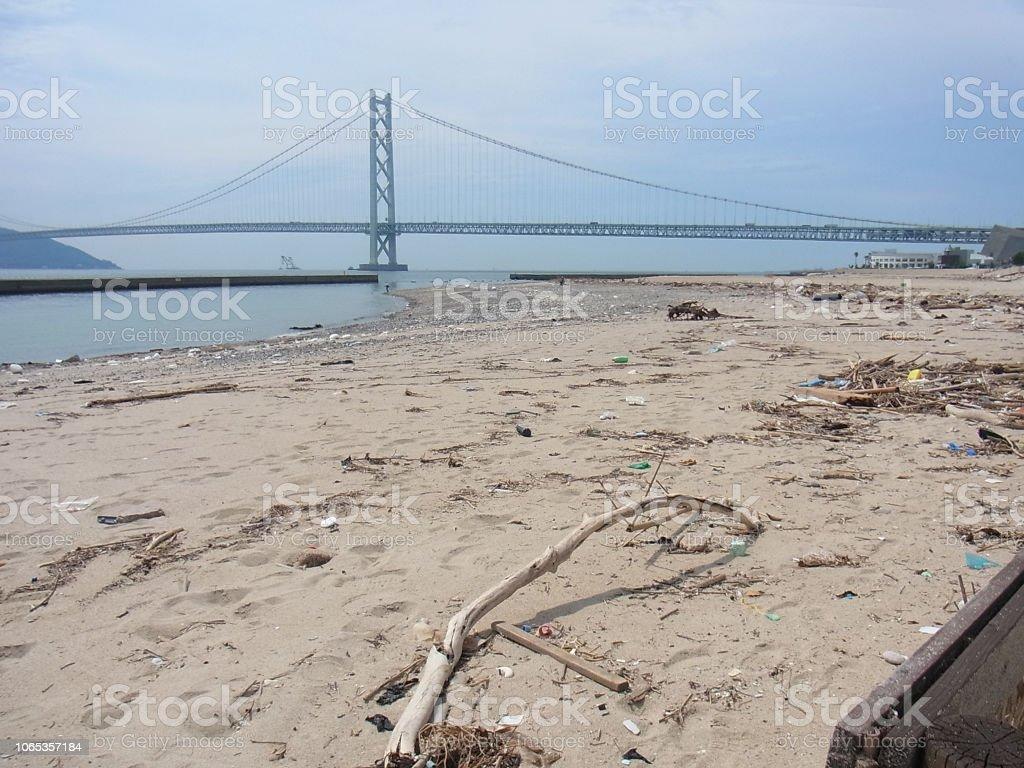台風後の海岸 ストックフォト