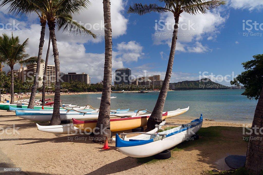 Seashore Pacific Ocean Waikiki Beach Oahu Hawaii Diamond Head stock photo