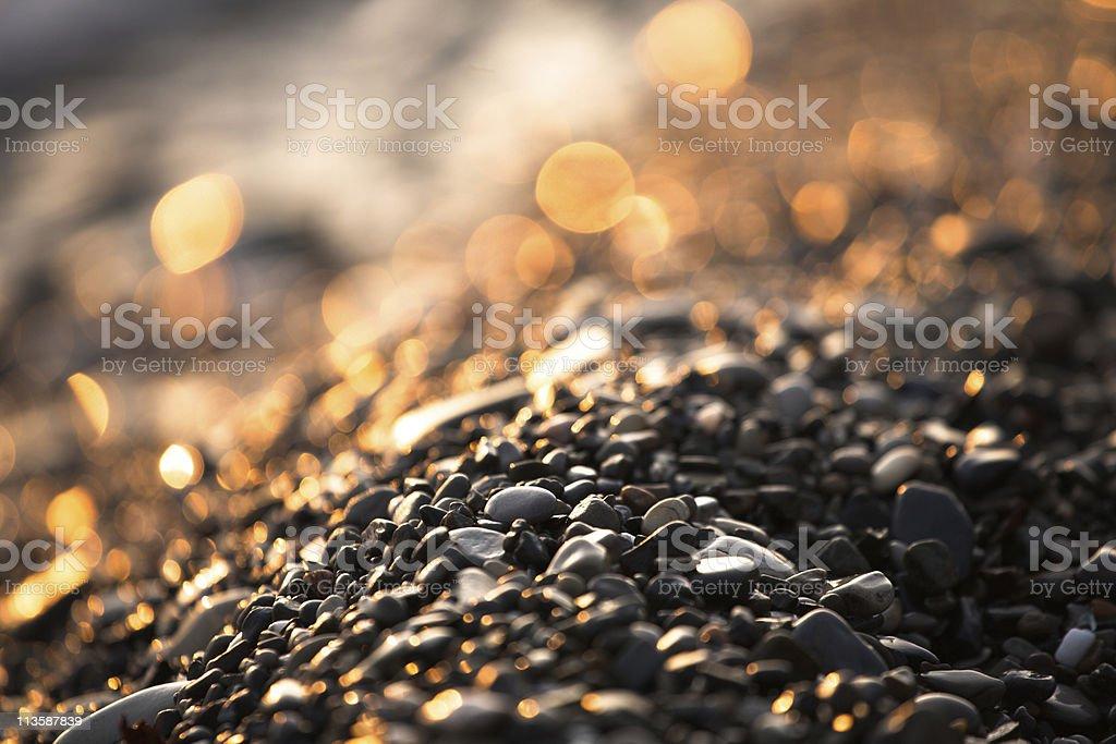 Seashore Stones at Sunset stock photo