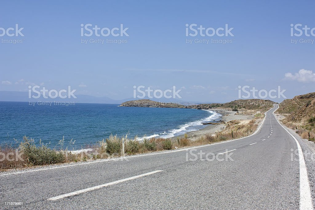 seaside and road, tourism travel destination stock photo