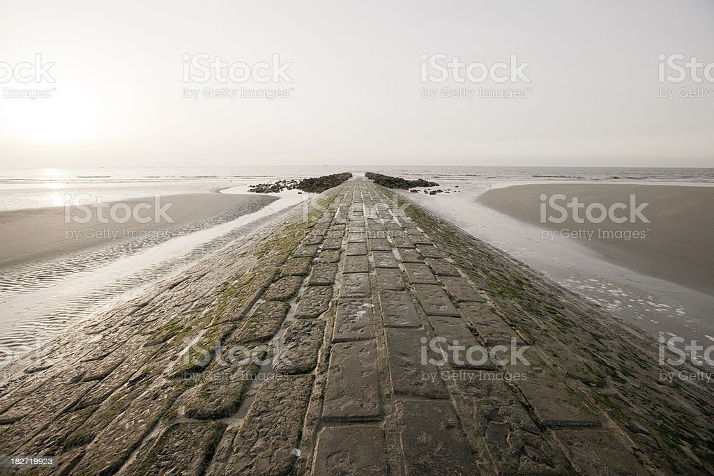 Seaside beach and breakwater​​​ foto