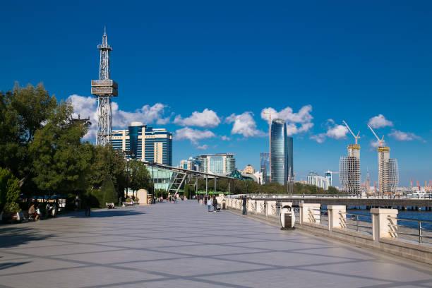 Seaside boulevard in Baku, Azerbaijan stock photo