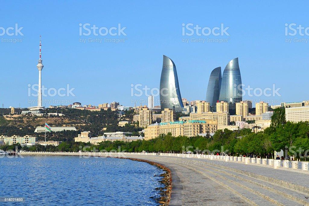 Seaside boulevard in Baku stock photo