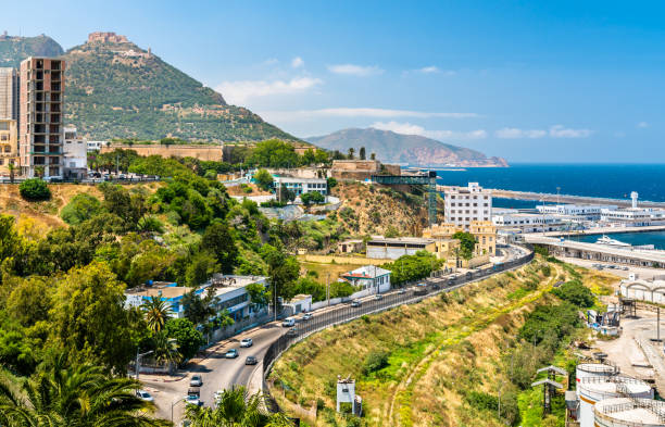 seaside boulevard in oran, a major algerian city - algeria stock photos and pictures