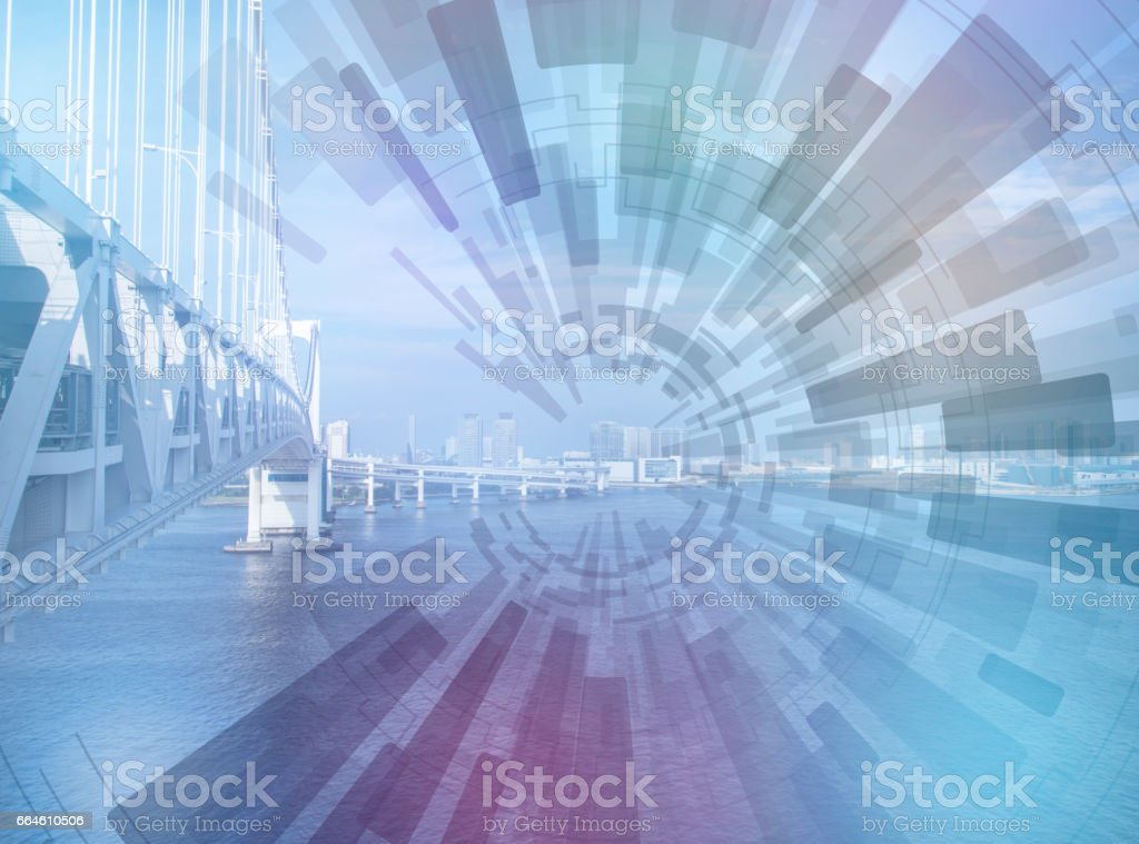 seaside bridge and concentration line, abstract image visual stock photo