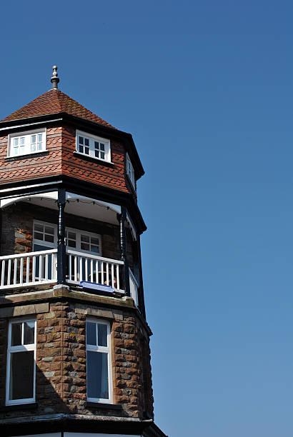 Seaside building against blue skies stock photo