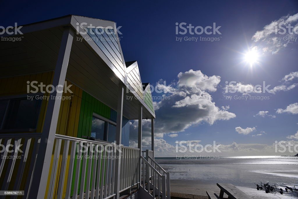 Seaside cabin, Jersey, U.K. stock photo