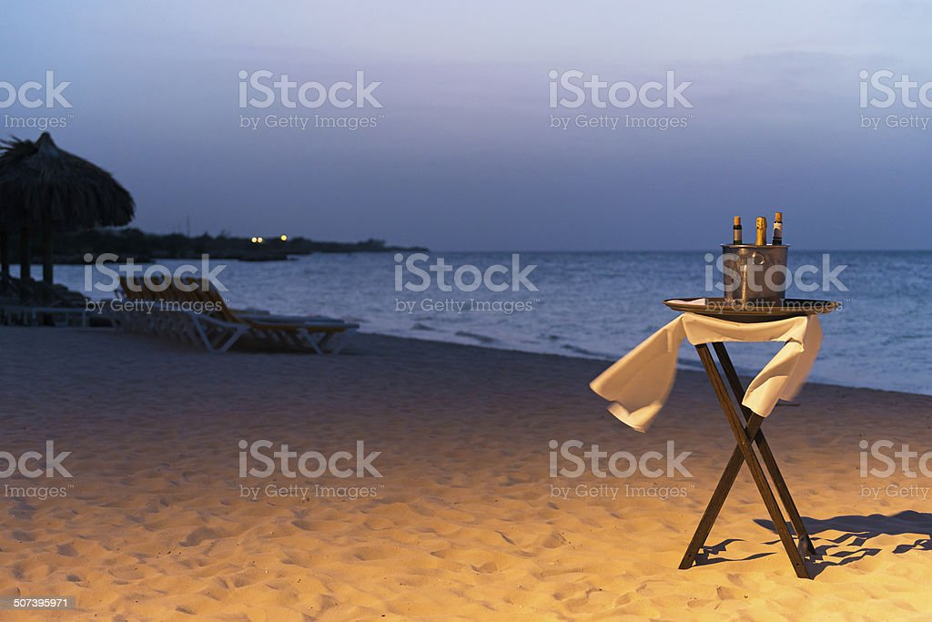 Seaside Champagne stock photo