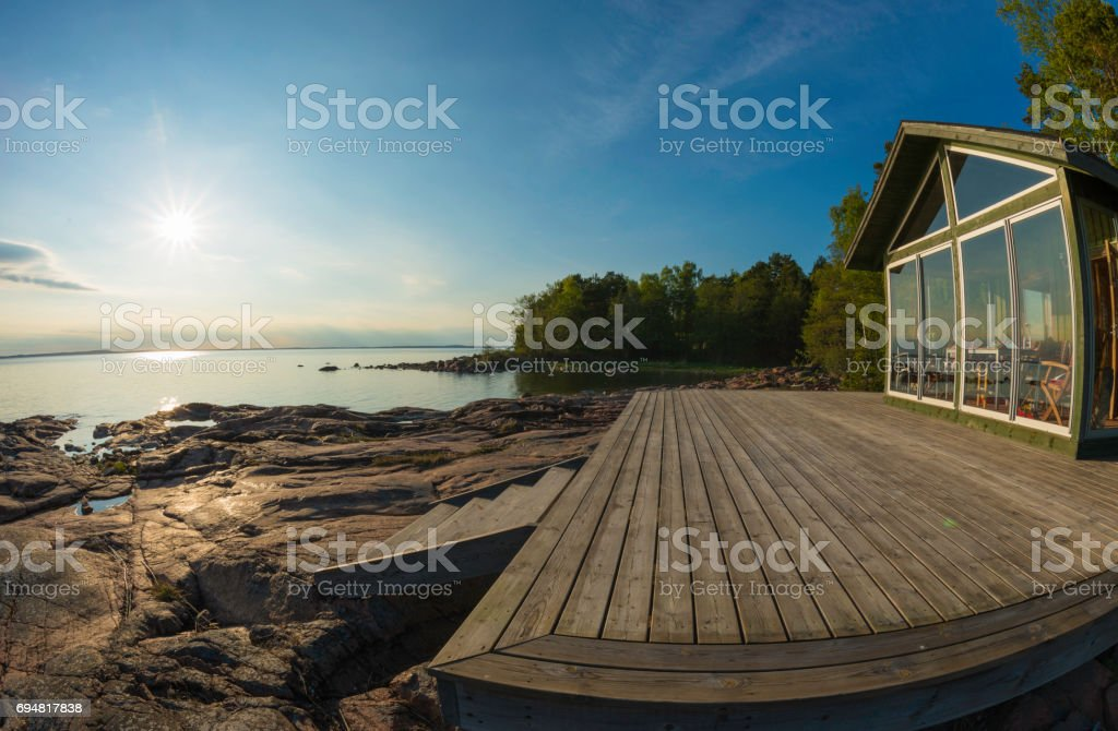 Seaside cottage on sunny summer day stock photo