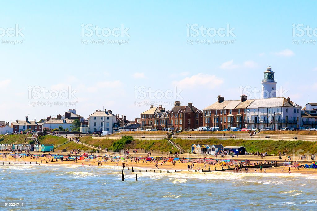 Seaside Cottages and Lighthouse at Southwold Beach stock photo