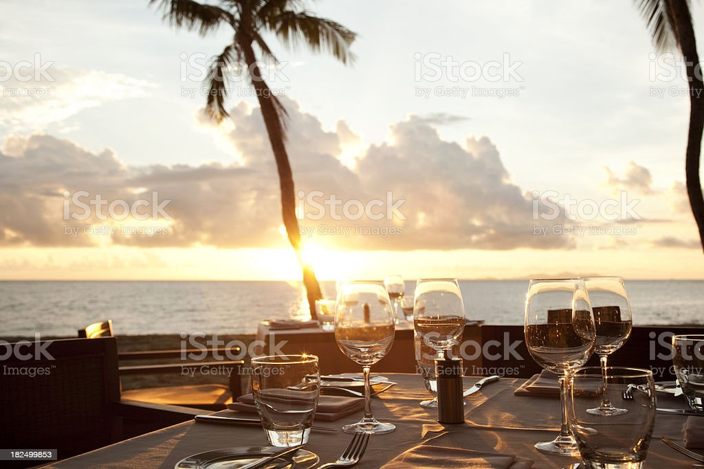 Seaside Dinner Table royalty-free stock photo