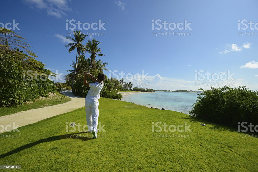 Seaside Golf Play golf at seaside Active Lifestyle Stock Photo