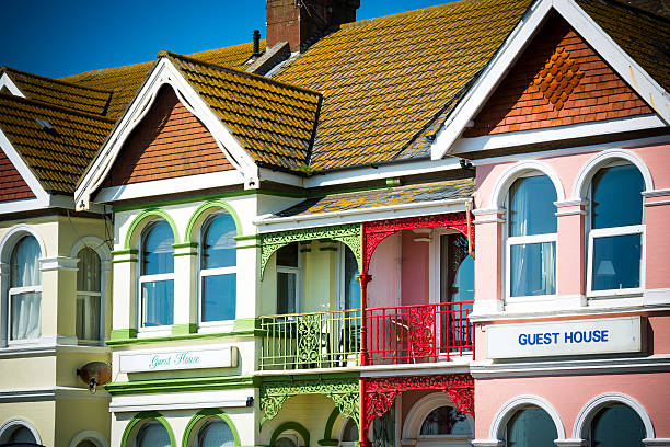 Seaside guesthouses stock photo