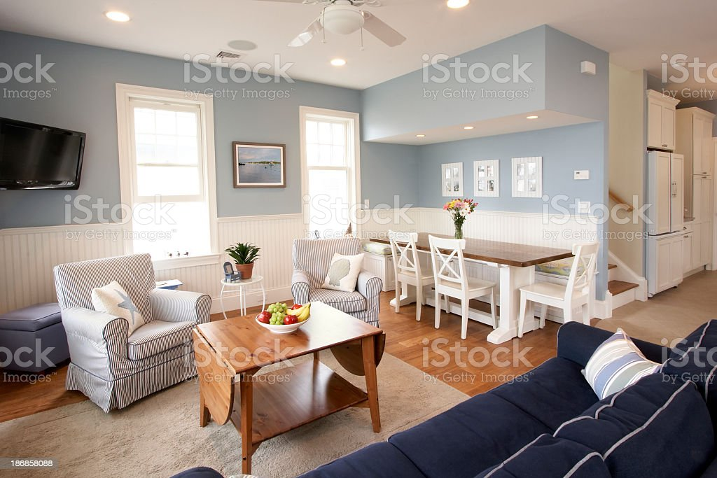 Seaside house interior, living room stock photo
