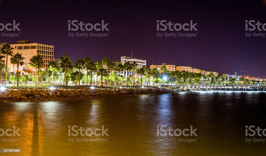 Seaside in Limassol at night - Cyprus stock photo