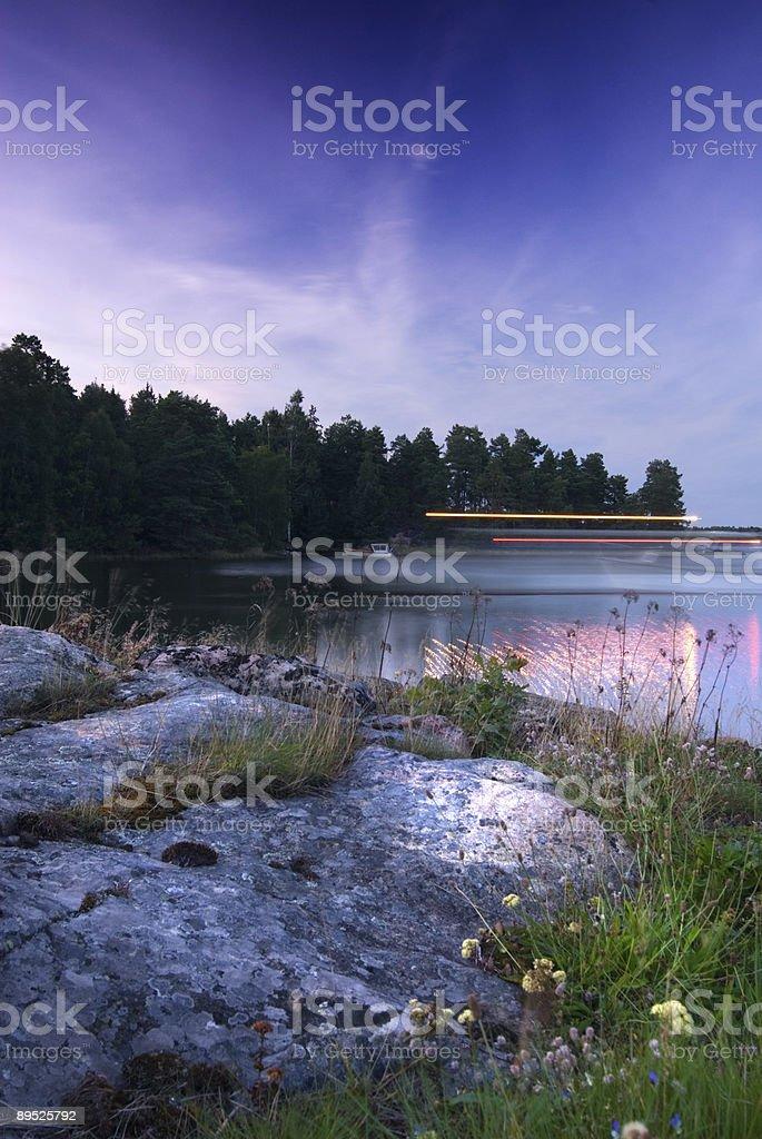 Seaside landscape by night royalty-free stock photo