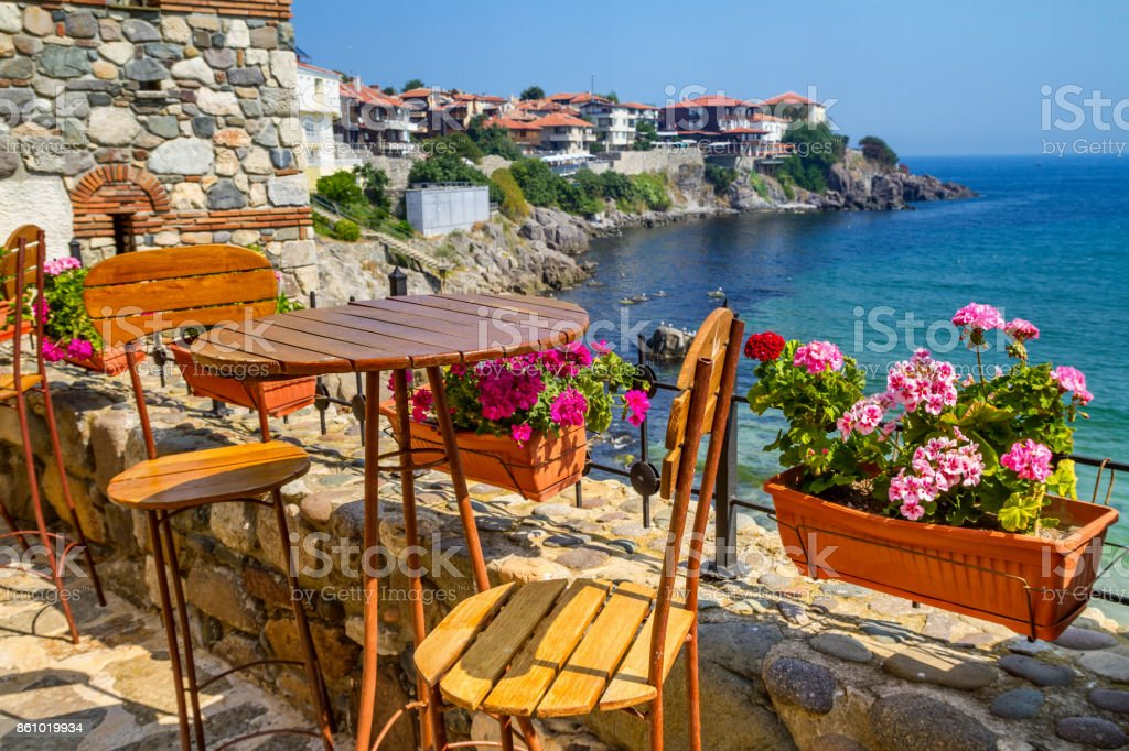 Seaside landscape - view from the cafe on the embankment in the town of Sozopol stock photo