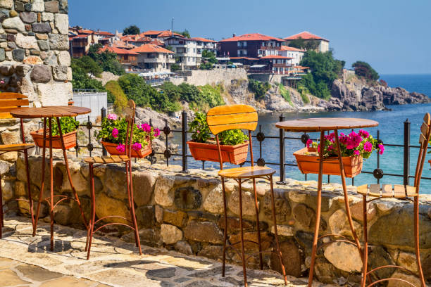 Seaside landscape - view from the cafe on the embankment in the town of Sozopol Seaside landscape - view from the cafe on the embankment in the town of Sozopol on the Black Sea coast in Bulgaria bulgaria stock pictures, royalty-free photos & images