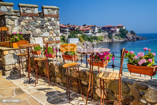 istock Seaside landscape - view from the cafe on the embankment in the town of Sozopol 861019962