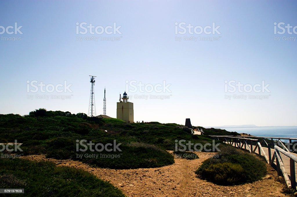 Seaside landscape with lighthouse stock photo